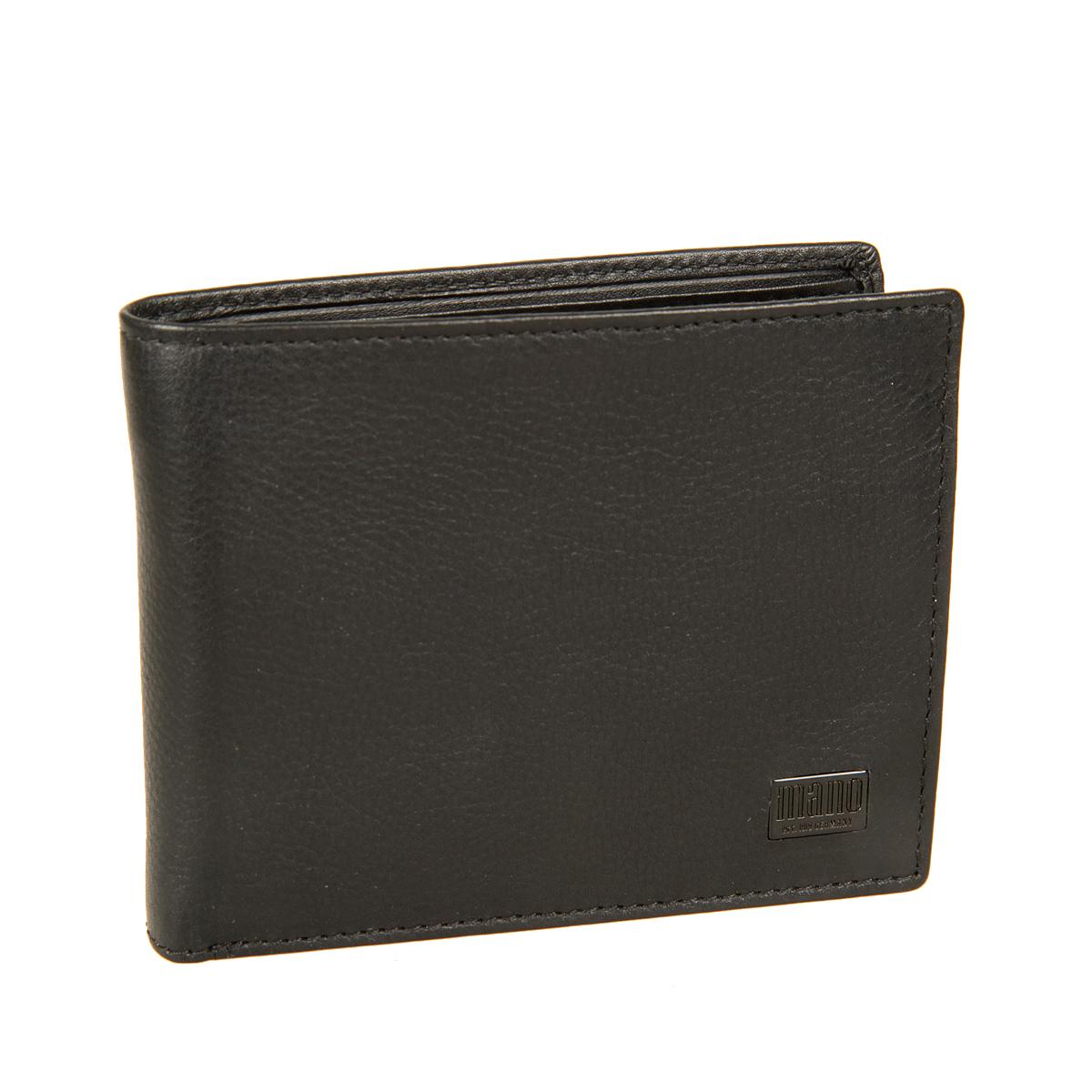 Портмоне мужское Mano, цвет: черный. 1915119151 certo blackСтильное мужское портмоне Mano выполнено из натуральной кожи, оформлено не большой металлической пластинкой с логотипом бренда. Внутри - два отделения для купюр, карман для мелочи с клапаном на кнопке, два потайных кармана, карман с сетчатой вставкой, четыре кармашка для пластиковых карт. Модель имеет protect pocket - защитный карман от считывания карты. Портмоне упаковано в фирменную картонную коробку.