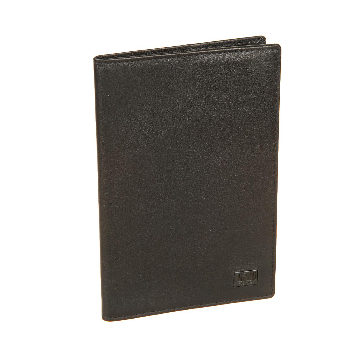 Обложка для паспорта мужская Mano, цвет: черный. 19152