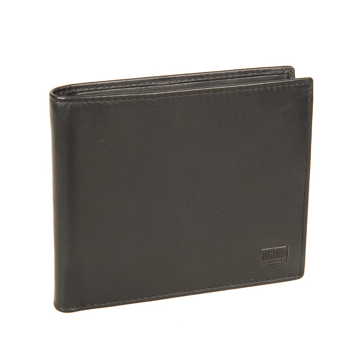 Портмоне мужское Mano, цвет: черный. 1915519155 certo blackСтильное мужское портмоне Mano выполнено из натуральной кожи и оформлено не большой пластинкой с логотипом бренда. Внутри два отделения для купюр, карман для мелочи с клапаном на кнопке, три потайных кармашка для мелочей и четыре отделения для пластиковых и визитных карт. У портмоне имеется Protect Pocket - защитный карман от считывания карты. Модель упакована в фирменную картонную коробку.