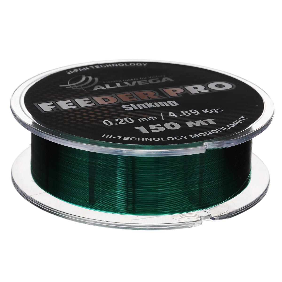 Леска Allvega Feeder Pro Sinking, цвет: темно-зеленый, 150 м, 0,2 мм, 4,89 кг39956Леска Allvega Feeder Pro Sinking предназначена для фидерной ловли. Обладает всеми необходимыми характеристиками для фидерной ловли. Это - повышенная стойкость к перетиранию о бровки, камни и ракушечник, отлично тонет, имеет малую растяжимость, окрашена в темно-зеленый цвет. Может с успехом использоваться в матчевой ловле и при ловле на зимнюю поплавочную удочку.