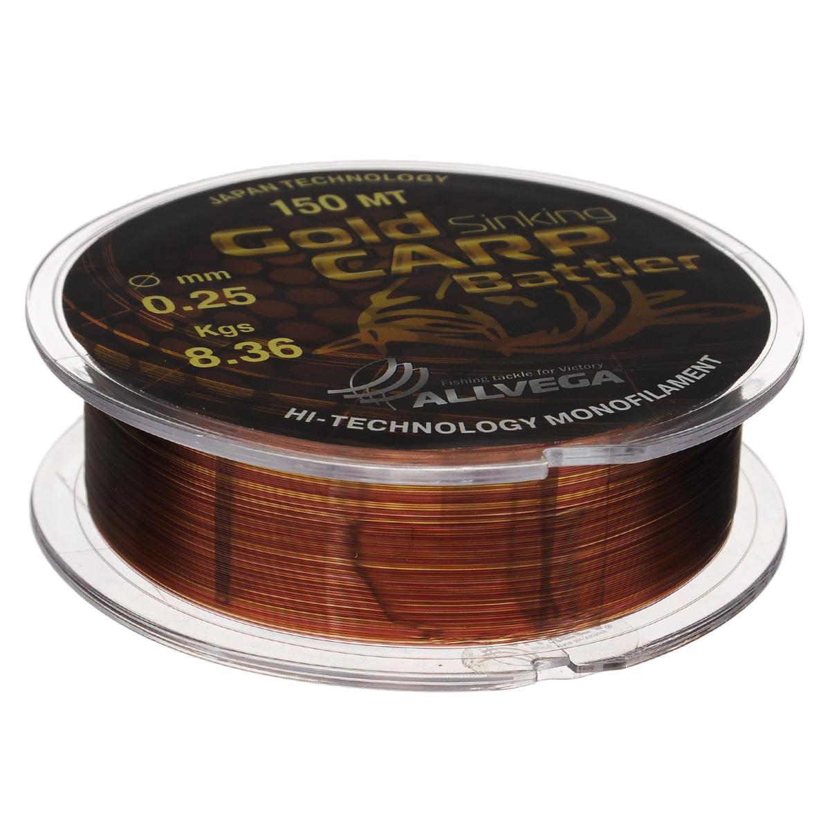 Леска Allvega Gold Karp Battler, цвет: коричневый, 150 м, 0,25 мм, 8,36 кг39948Карповая леска Allvega Gold Karp Battler была разработана для ловли действительно крупной рыбы. Способна противостоять большим нагрузкам в условиях густой растительности и коряжнике. Специальный цвет имеет неоднородную структуру, что позволяет быть не заметной на дне. Хорошо тонет, что является важным критерием для выбора карповой лески.
