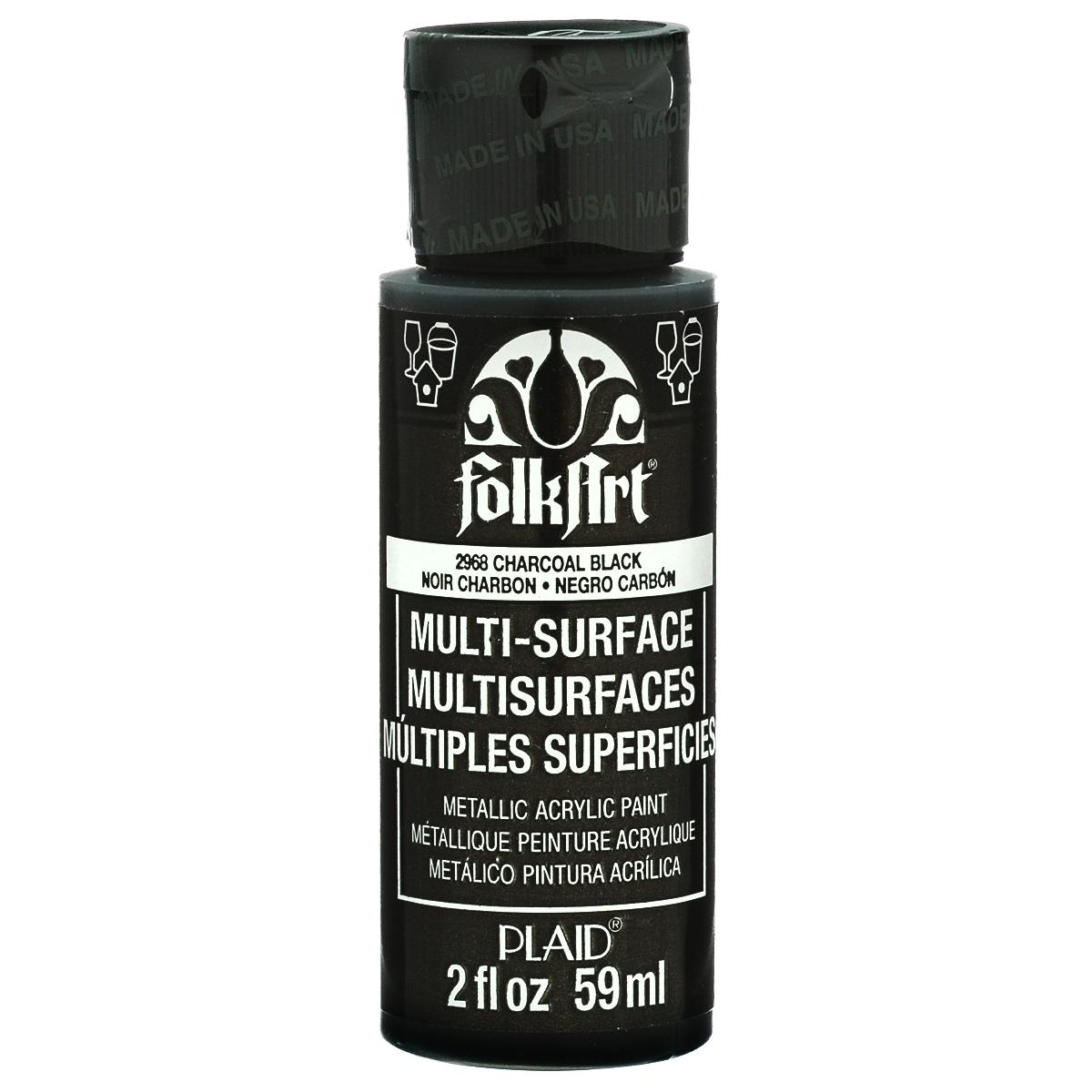 Краска акриловая FolkArt Multi-Surface Metallic, цвет: черный (2968), 59 млPLD-02968Краска акриловая FolkArt Multi-Surface Metallic - это прочная погодоустойчивая сатиновая краска с металлическим отливом. Не токсична, на водной основе. Предназначена для различных видов поверхностей: стекло, керамика, дерево, металл, пластик, ткань, холст, бумага, глина. Идеально подходит как для использования в помещении, так и для наружного применения. Изделия, покрытые такой краской, можно мыть в посудомоечной машине в верхнем отсеке. Перед применением краску необходимо хорошо встряхнуть. Краски разных цветов можно смешивать между собой. Перед повторным нанесением краски дать высохнуть в течении 1 часа. До высыхания может быть смыта водой с мылом.