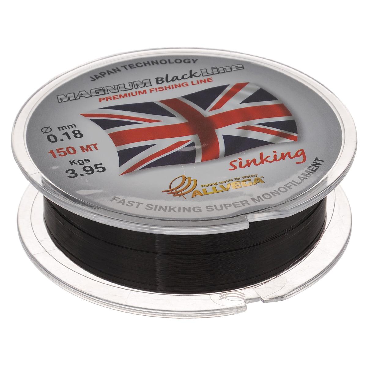 """Леска Allvega """"Magnum Black"""", цвет: черный, 150 м, 0,18 мм, 3,95 кг 39927"""