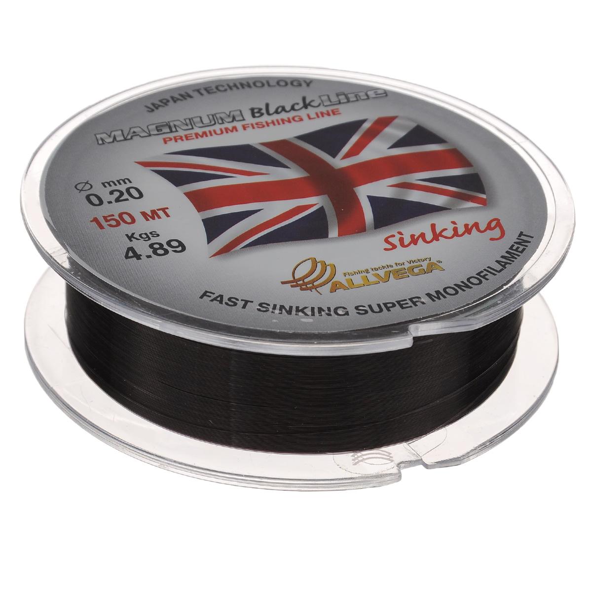 Леска Allvega Magnum Black, цвет: черный, 150 м, 0,2 мм, 4,89 кг39928Специальная тонущая леска Allvega Magnum Black. Темный цвет, способность быстро тонуть, отсутствие механической памяти, жесткость, устойчивость к частым перезабросам и внешним механическим воздействиям, делают эту леску незаменимой для поплавочной ловли дальним забросом. Однако, ее физические свойства позволяют с успехом ловить не только на поплавочную снасть, но и на фидер, донки всех видов, а так же использовать ее при подледной ловле в зимней поплавочной удочке.