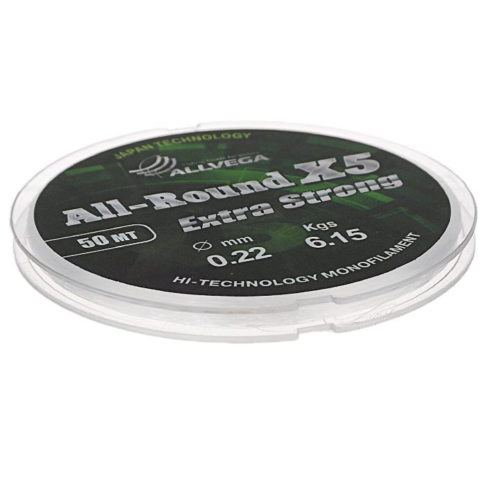 Леска Allvega All-Round X5, цвет: прозрачный, 50 м, 0,22 мм, 6,15 кг36180Универсальная прозрачная леска Allvega All-Round X5, изготовленная из японского сырья. Обладает высокими разрывными и износостойкими характеристиками. Применяется в летних поплавочных оснастках. Зимой отлично подойдет для ловли на мормышку и для оснащения зимних поплавочных удочек.