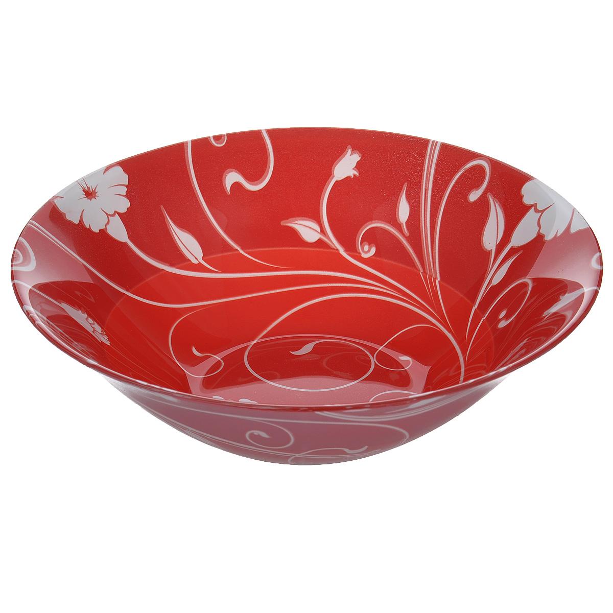 Салатник Pasabahce Red Serenade, цвет: красный, диаметр 23 см10415BD3Салатник Pasabahce Red Serenade выполнен из закаленного стекла. Изделие украшено изысканным цветочным орнаментом. Внешняя сторона - матовая. Набор прекрасно подойдет для сервировки различных блюд. Яркий дизайн украсит стол и порадует вас и ваших гостей. Нельзя использовать в микроволновой печи. Можно использовать в морозильной камере. Диаметр салатника: 23 см. Высота салатника: 7 см.