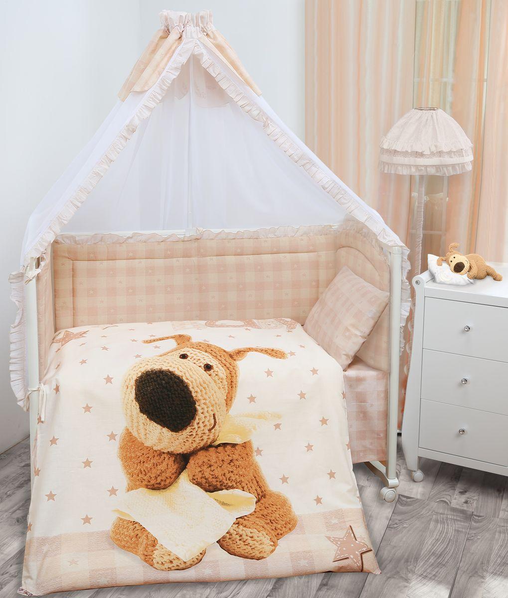 Комплект в кроватку Mona Liza Boofle baby Буффи, цвет: коричневый, 7 предметов521205Комплект в кроватку Mona Liza Boofle baby Буффи прекрасно подойдет для кроватки вашего малыша, добавит комнате уюта и согреет в прохладные дни. В качестве материала верха использован натуральный хлопок, мягкая ткань не раздражает чувствительную и нежную кожу ребенка и хорошо вентилируется. Бортик, подушка и одеяло наполнены 100% полиэфиром. Балдахин выполнен из 100% полиэфира с отделкой 100% хлопка. Комплект состоит из: бортиков 40 см х 60 см - 2 шт, 40 см х 120 см - 2 шт, балдахина 150 см х 300 см, плоской подушки 40 см х 60 см, зимнего одеяла 105 см х 140 см, пододеяльника 110 см х 145 см, наволочки 40 см х 60 см, простыни 100 см х 145 см. Элементы комплекта выполнены из 100% хлопка и оформлены аппликацией в виде очаровательного вязаного щеночка Буффи. Очень важно, чтобы ваш малыш хорошо спал - это залог его здоровья, а значит вашего спокойствия. Согласно рекомендациям детских врачей, лучше всего...