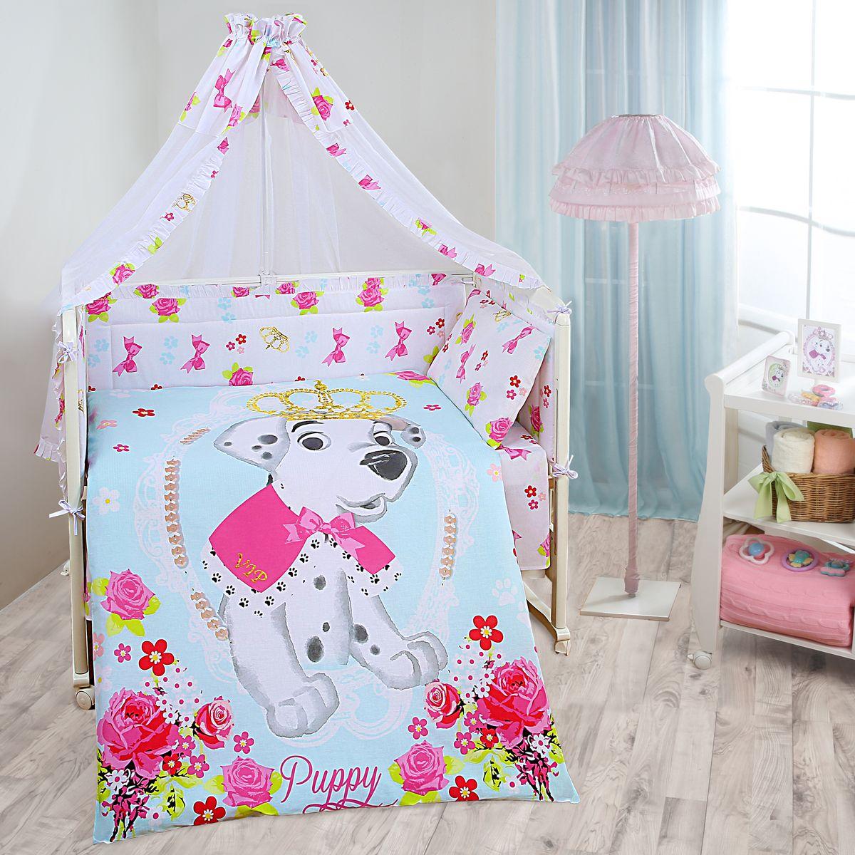 Комплект в кроватку Mona Liza Disney baby Далматинец винтаж, цвет: белый, 7 предметов521262Комплект в кроватку Mona Liza Disney baby Далматинец винтаж прекрасно подойдет для кроватки вашего малыша, добавит комнате уюта и согреет в прохладные дни. В качестве материала верха использован натуральный хлопок, мягкая ткань не раздражает чувствительную и нежную кожу ребенка и хорошо вентилируется. Бортик, подушка и одеяло наполнены 100% полиэфиром. Балдахин выполнен из 100% полиэфира с отделкой 100% хлопка. Комплект состоит из: бортиков 40 см х 60 см - 2 шт, 40 см х 120 см - 2 шт, балдахина 150 см х 300 см, плоской подушки 40 см х 60 см, зимнего одеяла 105 см х 140 см, пододеяльника 110 см х 145 см, наволочки 40 см х 60 см, простыни 100 см х 145 см. Элементы комплекта выполнены из 100% хлопка и оформлены аппликацией в виде забавного щенка далматинца. Очень важно, чтобы ваш малыш хорошо спал - это залог его здоровья, а значит вашего спокойствия. Согласно рекомендациям детских врачей, лучше всего...
