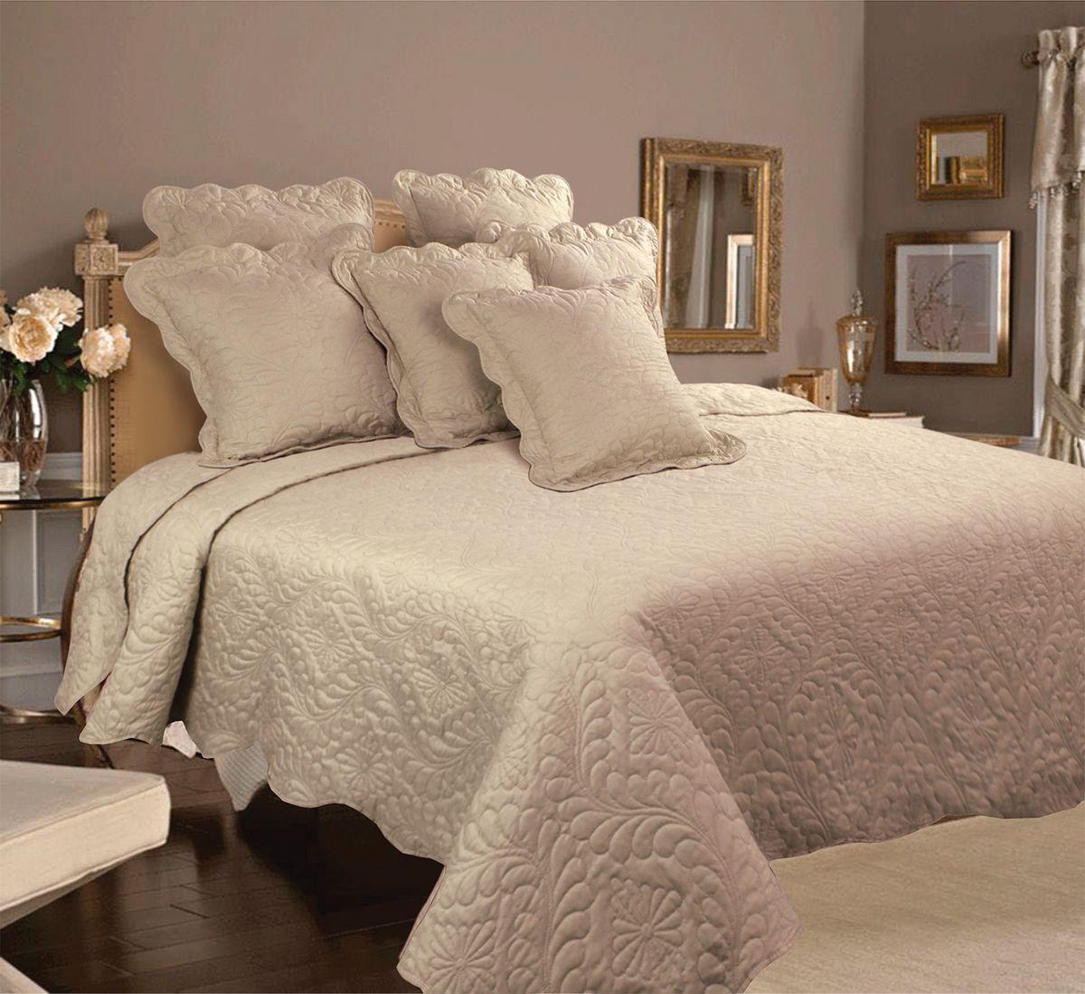 Комплект для спальни Mona Liza Royal Latte: покрывало 200 х 220 см, 2 наволочки 40 х 40 см, цвет: латте