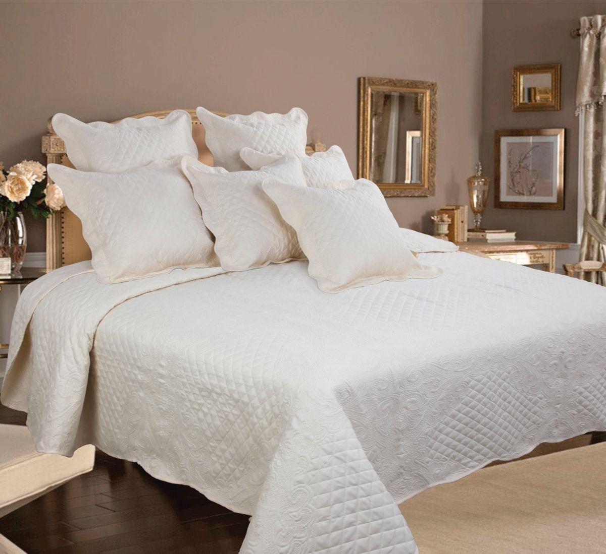 Комплект для спальни Mona Liza Royal Milky: покрывало 240 х 260 см, 2 наволочки 40 х 40 см, цвет: молочный
