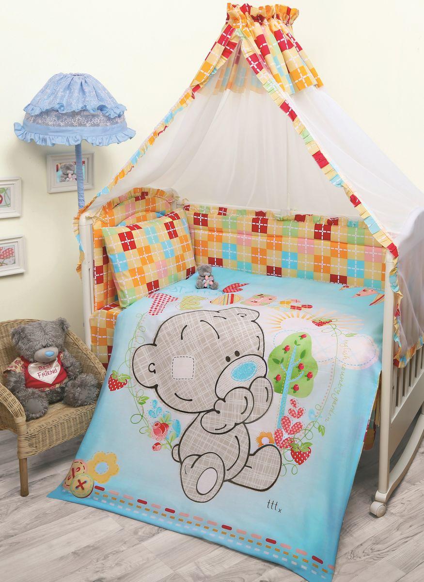 Комплект в кроватку Mona Liza Me To You Тедди, цвет: голубой, 7 предметов521203Комплект в кроватку Mona Liza Me To You Тедди прекрасно подойдет для кроватки вашего малыша, добавит комнате уюта и согреет в прохладные дни. В качестве материала верха использован натуральный хлопок, мягкая ткань не раздражает чувствительную и нежную кожу ребенка и хорошо вентилируется. Бортик, подушка и одеяло наполнены 100% полиэфиром. Балдахин выполнен из 100% полиэфира с отделкой 100% хлопка. Комплект состоит из: бортиков 40 см х 60 см - 2 шт, 40 см х 120 см - 2 шт, балдахина 150 см х 300 см, плоской подушки 40 см х 60 см, зимнего одеяла 105 см х 140 см, пододеяльника 110 см х 145 см, наволочки 40 см х 60 см, простыни 100 см х 145 см. Элементы комплекта выполнены из 100% хлопка и оформлены аппликацией в виде очаровательного медвежонка Teddy. Очень важно, чтобы ваш малыш хорошо спал - это залог его здоровья, а значит вашего спокойствия. Согласно рекомендациям детских врачей, лучше всего приобретать...