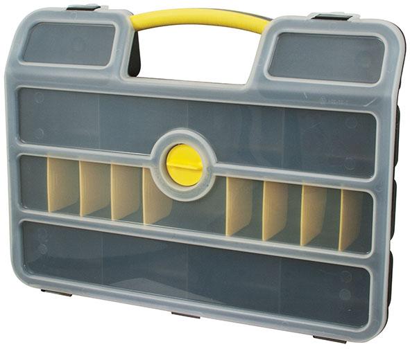Ящик для крепежа FIT, 46,3 x 34,3 x 9 см66Ящик для крепежа FIT изготовлен из прочного пластика и предназначен для хранения и переноски крепежных элементов. Для более комфортного переноса в руках, на крышке ящика предусмотрена удобная ручка. Благодаря переставным перегородкам размер отделений можно регулировать как вам будет удобно. Закрывается на защелки и дополнительный центральный замок Размер нерегулируемых отделений: 11 см х 8 см х 6 см. Глубина ящика: 6 см.