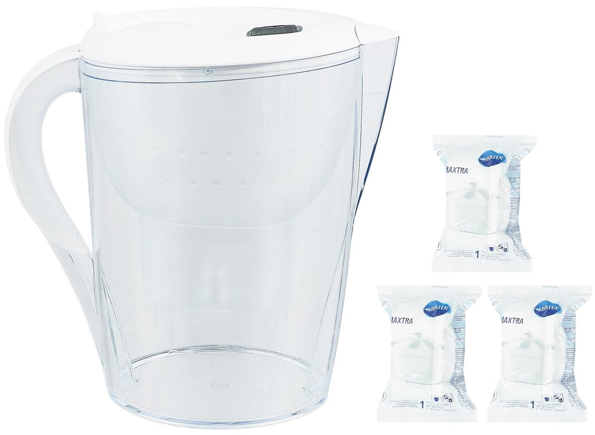 Фильтр-кувшин для воды Brita Marella XL, цвет: белый, 3 сменных картриджа, 3,5 л1010706Фильтр-кувшин Brita Marella XL, выполненный из пластика, станет необходимым помощником на вашей кухне. Вода, очищенная данным фильтром обладает рядом преимуществ: - улучшает вкус горячих и холодных напитков, - увеличивает срок службы бытовых приборов, препятствуя образованию накипи, - идеальна для приготовления вкусной и здоровой пищи, - придает более насыщенный вкус и аромат чаю и кофе. Технология картриджа Maxtra снижает содержание в воде таких веществ, как хлор, алюминий, тяжелые металлы (свинец и медь), некоторые пестициды и органические примеси. Также он отфильтровывает соли жесткости. Особенности данного фильтра: - только для Maxtra, - благодаря удобной функции (одним нажатием кнопки) заменить картридж очень просто, - откидная крышка в отверстии для заливки воды, - календарь: механический индикатор ресурса кассеты будет автоматически напоминать вам о необходимости заменить кассету через каждые 4...
