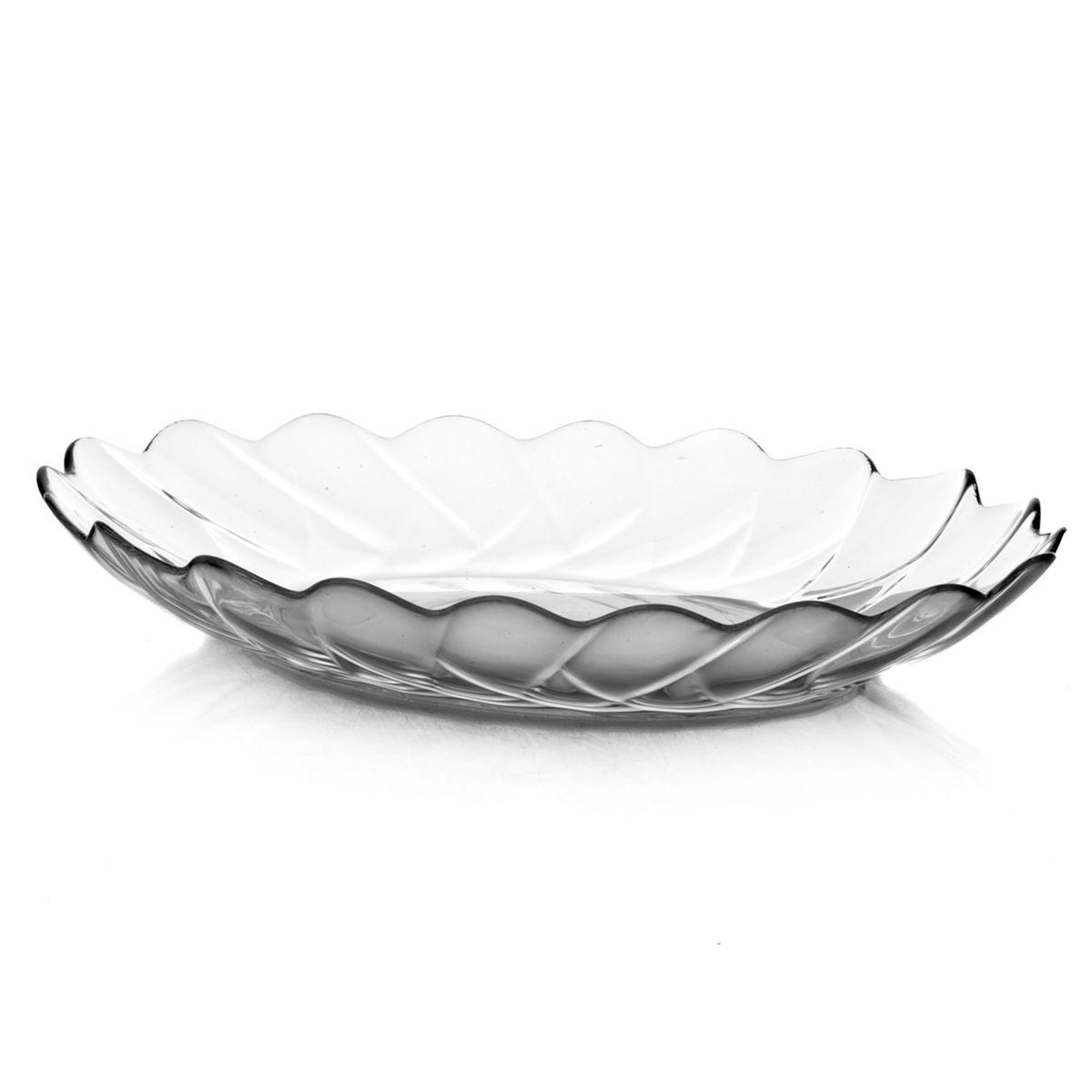 Тарелка Pasabahce Hasir, овальная, цвет: прозрачный, 32 см х 26 см10412Овальная тарелка Pasabahce Hasir изготовлена из прочного натрий-кальций-силикатного стекла. Края изделия волнообразные. Тарелка прекрасно подойдет в качестве сервировочного блюда для фруктов, десертов, закусок, торта и другого. Изящная тарелка прекрасно оформит праздничный стол и порадует вас и ваших гостей изысканным дизайном и формой. Можно мыть в посудомоечной машине. Размер тарелки: 32 см х 26 см х 4 см.