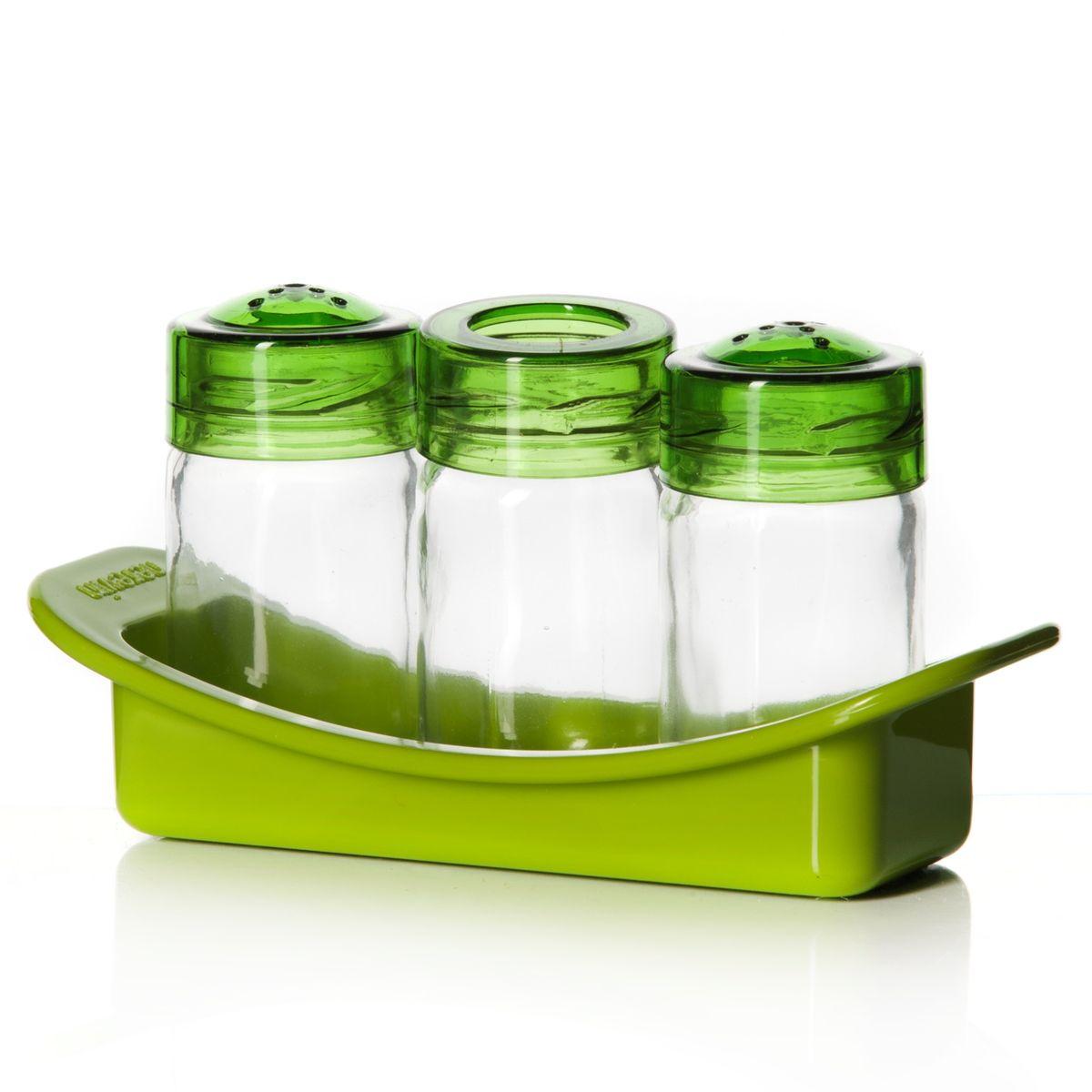 Набор для специй Herevin Venezia, цвет: зеленый, 4 предмета122060-102Набор для специй Herevin Venezia состоит из солонки, перечницы, емкости для зубочисток и подставки. Емкости выполнены из стекла, подставка и крышки изготовлены из пластика. Такой набор красиво и оригинально оформит ваш кухонный стол. Размер емкостей: 4 см х 4 см х 8 см. Размер подставки: 16,5 см х 6 см х 4 см.