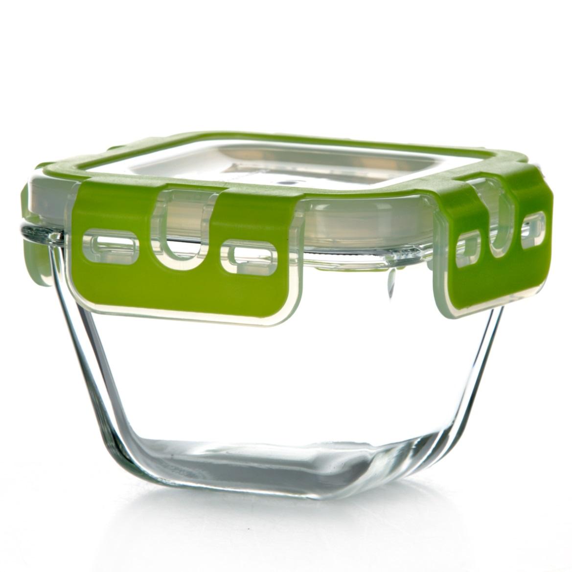 Контейнер для хранения продуктов Pasabahce Storemax, цвет: зеленый, 290 мл53562Контейнер Pasabahce Storemax, выполненный из высококачественного закаленного стекла, предназначен для хранения продуктов. Благодаря высокому качеству материала и герметичной пластиковой крышке с защелками продукты в контейнере дольше сохранят свежесть, сочность и аромат. Крышка имеет силиконовую вставку, предотвращающую выскальзывание контейнера из рук при открывании. Можно мыть в посудомоечной машине и использовать в микроволновой печи. Подходит для хранения в холодильнике. Размер контейнера: 10,3 см х 10,3 см. Высота (без учета крышки): 6,5 см. Объем: 290 мл.