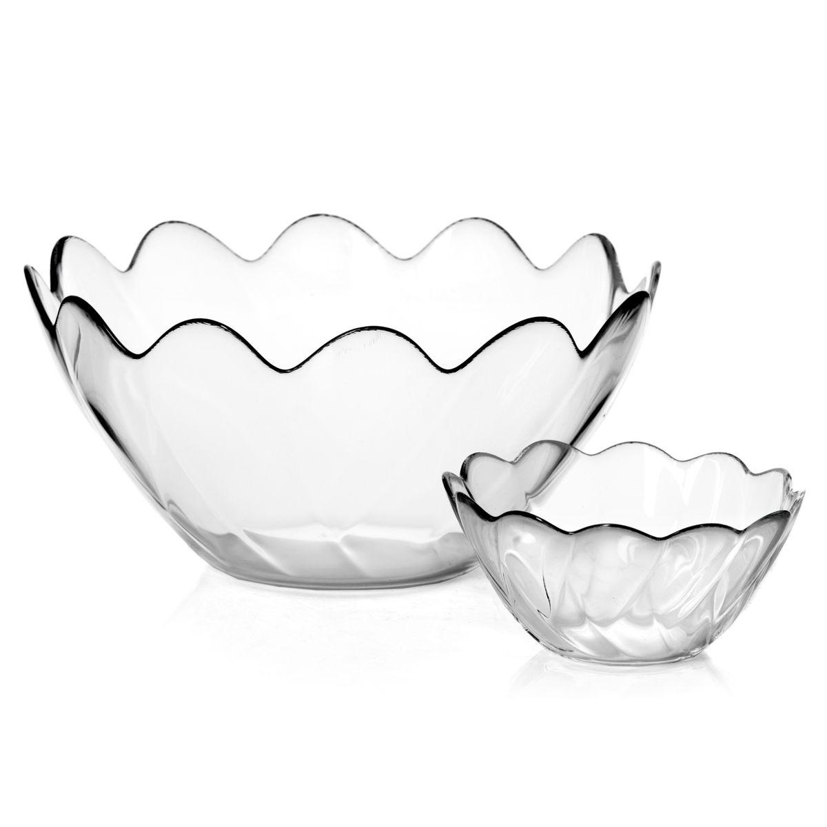 Набор салатников Pasabahce Hasir, цвет: прозрачный, 7 предметов98886Набор Pasabahce Hasir состоит из шести круглых малых и одного большого салатников, выполненных из прочного натрий-кальций-силикатного стекла. Края изделий волнообразные. Такие салатники прекрасно подойдут для сервировки закусок, нарезок, салатов и других блюд. Набор прекрасно оформит праздничный стол и удивит вас изысканным дизайном. Можно мыть в посудомоечной машине. Размер малого салатника: 12,5 см х 12,5 см х 6 см. Количество малых салатников: 6 шт. Размер большого салатника: 23 см х 23 см х 11 см.