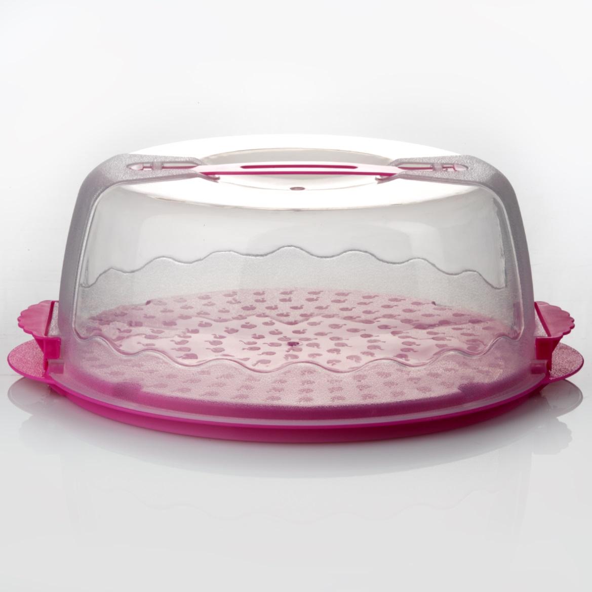 Контейнер для переноски торта, цвет: розовый. DGP001DGP001Контейнер для переноски торта d=280мм h=120мм - пластик Материал: пластмасса; цвет: цветной