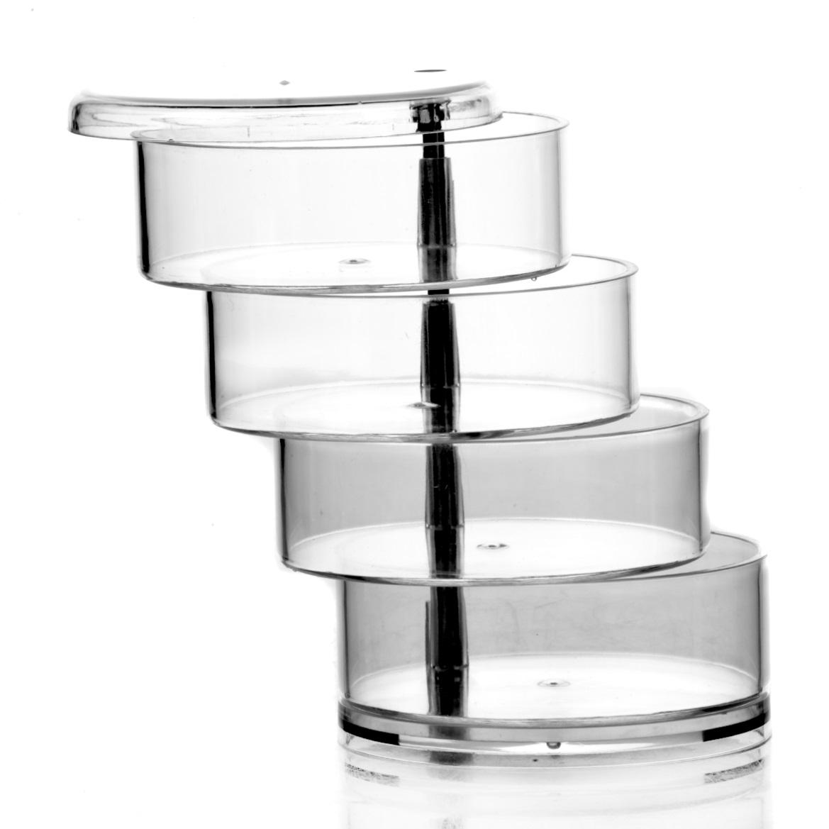 Подставка четырехъярусная House & HolderXZH001Подставка с крышкой House & Holder отлично подойдет для хранения украшений или косметики. Выполнена из прозрачного пластика. Подставка имеет 4 яруса, которые можно смещать для удобства использования. Размер подставки: 11,5 см х 11,5 см х 18 см. Размер яруса: 11,5 см х 11,5 см х 3,5 см.