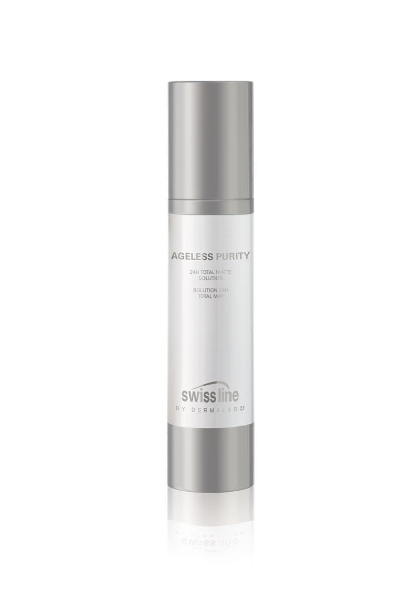 Swiss Line Ageless Purity Флюид для лица матирующий и увлажняющий, 24 часового действия, 50 мл1305Удивительно легкий, абсолютно не жирный флюид действует по системе Все в одном. Активные ингредиенты средства разработаны специально для жирного типа кожи. Комплекс Matte-Detox качественно уменьшает размер пор, восстанавливает структуру кожи, микропористые частицы препятствуют возникновению жирного блеска. Экстракт яблока и биотехнологичные клеточные активаторы освежают кожу, придавая ей сияние. Оливковое масло защищает кожу от агрессии свободных радикалов, улучшает эластичность кожи, укрепляет ее иммунитет. Средство стимулирует регенерацию клеток. Средство подходит обладательницам чувствительной кожи и тем, кто проходит лечение анти-акне.