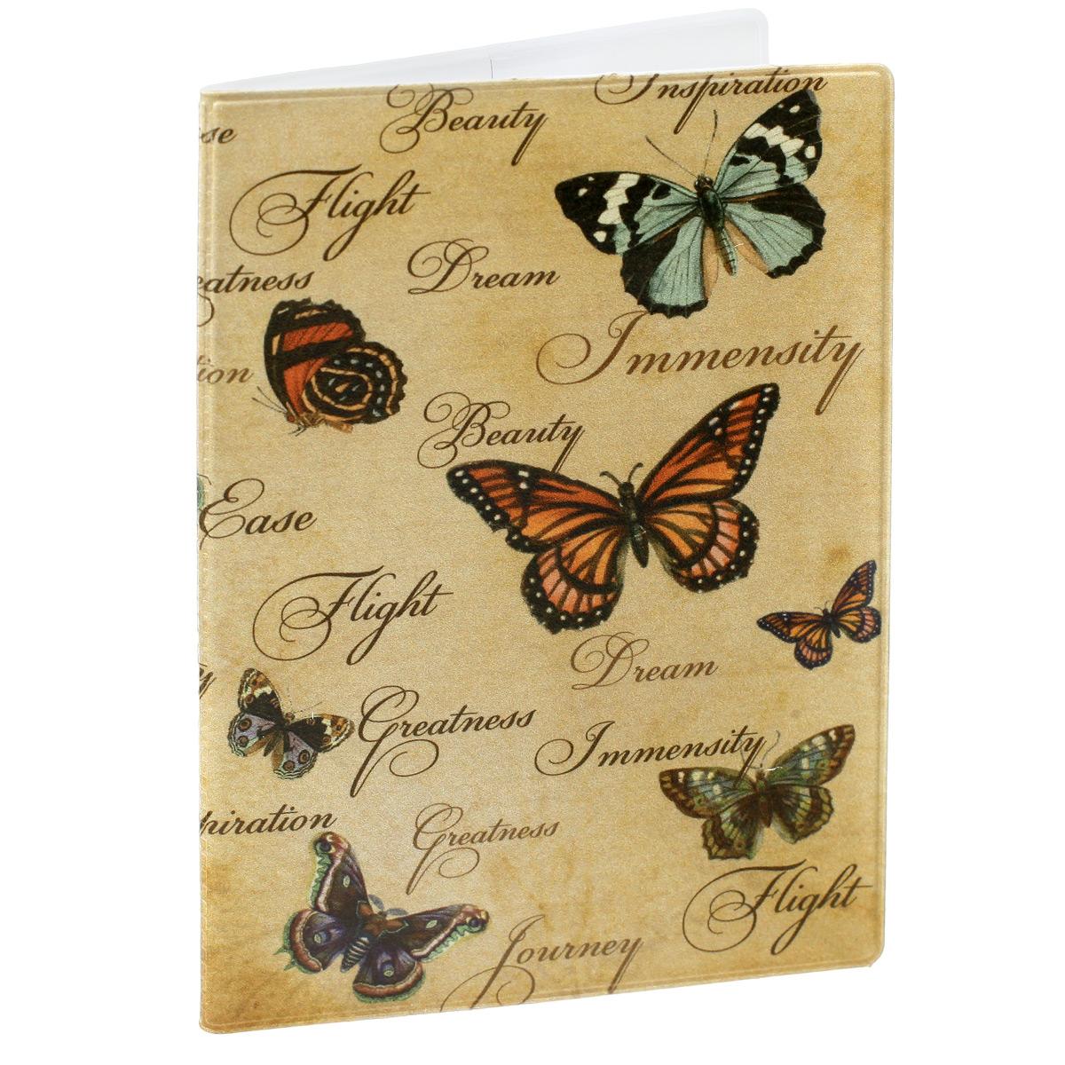 Обложка для паспорта Бабочки, цвет: песочный. 2905629056Обложка для паспорта Бабочки не только поможет сохранить внешний вид ваших документов и защитить их от повреждений, но и станет стильным аксессуаром, идеально подходящим вашему образу. Обложка выполнена из поливинилхлорида и оформлена оригинальным изображением бабочек. Внутри имеет два вертикальных кармана из прозрачного пластика. Такая обложка поможет вам подчеркнуть свою индивидуальность и неповторимость!