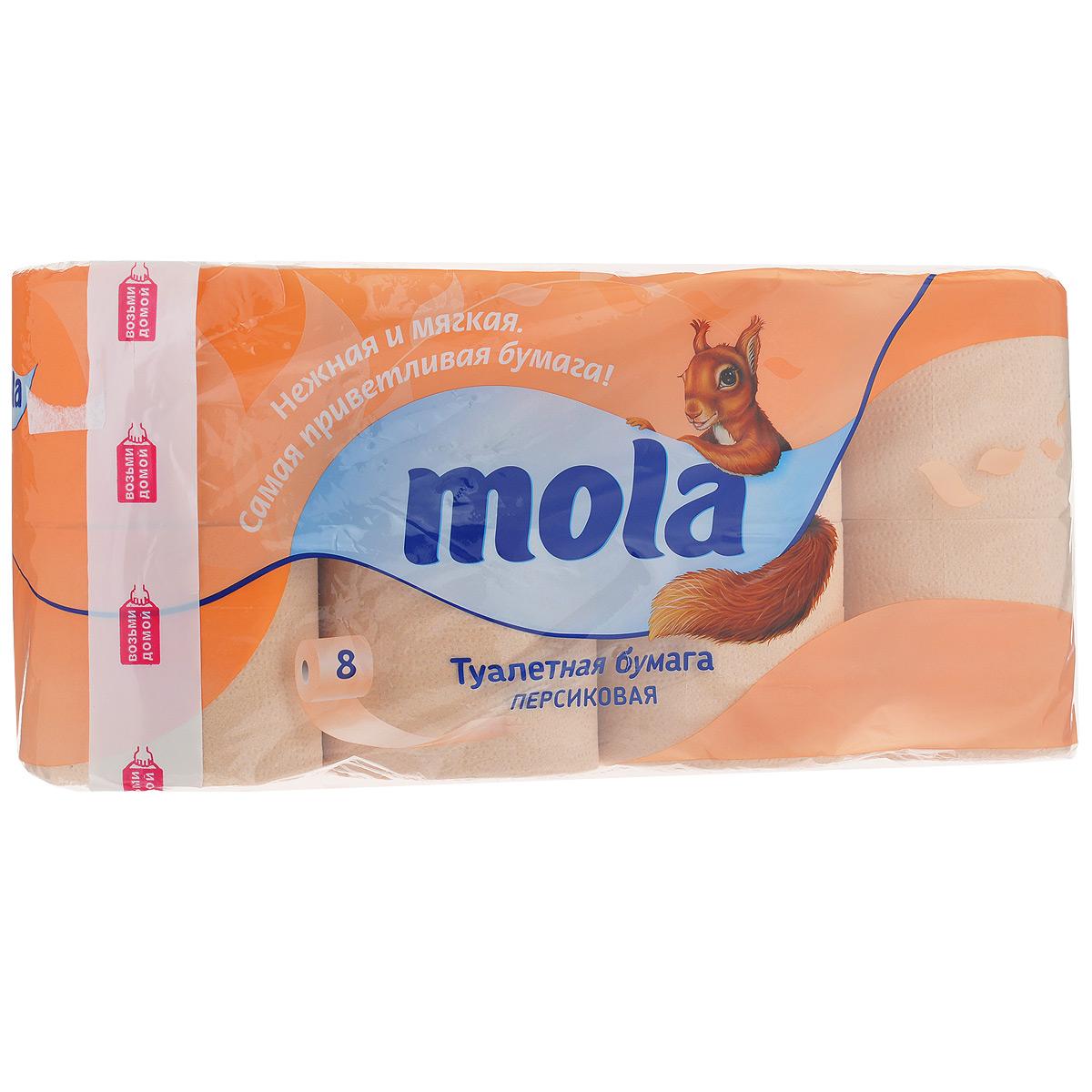 Туалетная бумага Mola, двухслойная, цвет: персиковый, 8 рулонов2175Двухслойная туалетная бумага Mola изготовлена из первичного и вторичного бумажного волокна. Листы имеют рисунок с тиснением. Мягкая, нежная, но в тоже время прочная, бумага не расслаивается и отрывается строго по линии перфорации. Материал: первичное и вторичное бумажное волокно. Количество слоев: 2. Размер листа: 12,5 см х 9,3 см. Длина рулона: 21 м. Количество листов: 170 шт.