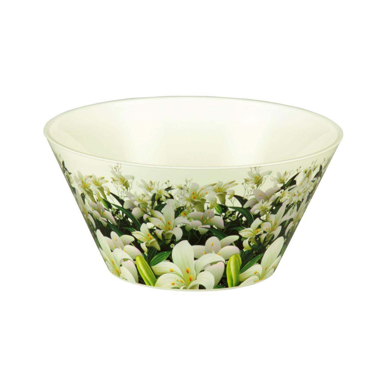 Чаша Шарлотта, 3 лМ2166Чаша Шарлотта изготовлена из высококачественного пластика и подходит для повседневного использования. Чаша декорирована изображением лилий. Чаша отлично подойдет для овсяных хлопьев, фруктов, риса или овощей. Также в ней можно приготовить салаты. Приятный дизайн чаши подойдет практически для любого случая. Диаметр чаши: 24 см. Высота чаши: 13 см. Объем: 3 л.