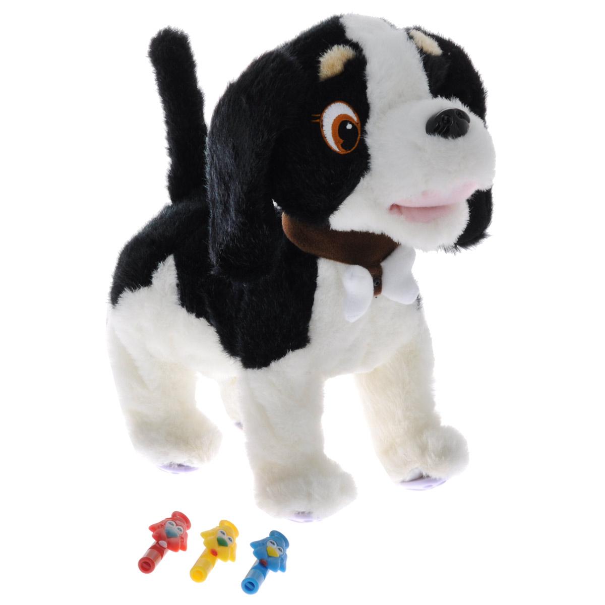 Интерактивная игрушка Сторожевой пес Bobby, цвет: черный, белыйGPH00959_черн_белИнтерактивная игрушка Сторожевой пес Bobby станет верным другом вашему ребенку. Щенок ведет себя совсем как настоящий: он умеет ходить, лаять, вилять хвостиком, шевелить ушами, а также является отличным сторожем. В комплект входят три свистка: красный, синий и желтый. В зависимости от того, в какой свисток ты дунешь, Bobby выполнит следующие команды: красный свисток: щенок радостно завиляет хвостиком и залает; синий свисток: щенок пойдет гулять; желтый свисток: щенок залает и зашевелит ушами. Bobby остановится, если еще раз дунуть в выбранный свисток. Погладьте щенка по голове, и он от удовольствия радостно залает и весело завиляет хвостиком. Предусмотрен режим охраны. При включении данного режима Bobby будет звонко лаять на каждого, кто попытается попытается проникнуть на территорию его хозяина (датчик движения расположен в косточке, которая закреплена на ошейнике). Порадуйте вашего ребенка таким замечательным подарком! Для работы игрушки...