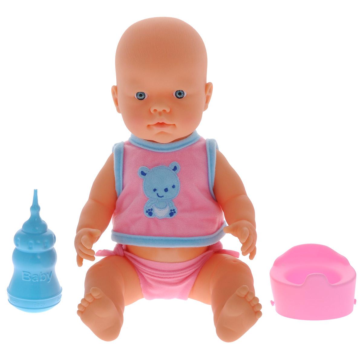 Кукла-пупс Falca Baby Pipi, с аксессуарами, цвет: голубой, розовый, 40 см39525/39007_роз_роз_горшокКукла-пупс Falca Baby Pipi порадует вашу малышку и доставит ей много удовольствия от часов, посвященных игре с ней. Кукла выглядит как настоящий малыш. Пупс одет в майку на липучке и трусики. В набор также входят бутылочка для кормления и горшок. Кукла не только пьет водичку из бутылочки, но и писает в горшок, чем еще более похожа на настоящего ребенка. После кормления и туалета пупса можно искупать. Игра с куклой разовьет в вашей малышке чувство ответственности и заботы. Порадуйте свою принцессу таким великолепным подарком!