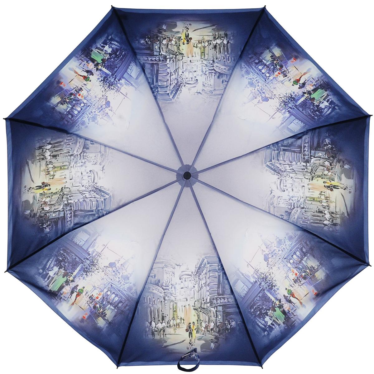 Зонт женский Zest, автомат, 3 сложения. 239455-25239455-25Женский автоматический зонт Zest в 3 сложения даже в ненастную погоду позволит вам оставаться стильной и элегантной. Каркас зонта состоит из 8 спиц из фибергласса и прочного стального стержня. Специальная система Windproof защищает его от поломок во время сильных порывов ветра. Купол зонта выполнен из прочного полиэстера с водоотталкивающей пропиткой и оформлен оригинальным изображением улиц города. Используемые высококачественные красители, а также покрытие Teflon обеспечивают длительное сохранение свойств ткани купола. Рукоятка, разработанная с учетом требований эргономики, выполнена из приятного на ощупь прорезиненного пластика темно-синего цвета. Зонт имеет полный автоматический механизм сложения: купол открывается и закрывается нажатием кнопки на рукоятке, стержень складывается вручную до характерного щелчка, благодаря чему открыть и закрыть зонт можно одной рукой, что чрезвычайно удобно при входе в транспорт или помещение. На рукоятке для удобства есть...