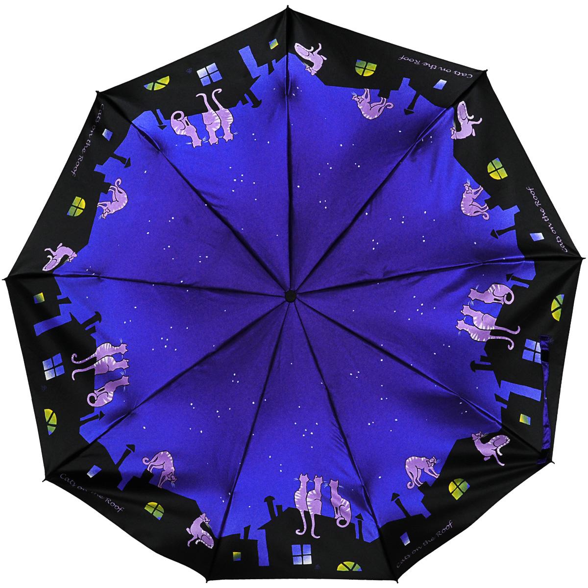 Зонт женский Zest, автомат, 3 сложения. 239444-78239444-78Женский автоматический зонт Zest в 3 сложения даже в ненастную погоду позволит вам оставаться стильной и элегантной. Каркас зонта состоит из 8 спиц из фибергласса и прочного стального стержня. Специальная система Windproof защищает его от поломок во время сильных порывов ветра. Купол зонта выполнен из прочного полиэстера с водоотталкивающей пропиткой и оформлен оригинальным изображением. Используемые высококачественные красители, а также покрытие Teflon обеспечивают длительное сохранение свойств ткани купола. Рукоятка, разработанная с учетом требований эргономики, выполнена из приятного на ощупь прорезиненного пластика. Зонт имеет полный автоматический механизм сложения: купол открывается и закрывается нажатием кнопки на рукоятке, стержень складывается вручную до характерного щелчка, благодаря чему открыть и закрыть зонт можно одной рукой, что чрезвычайно удобно при входе в транспорт или помещение. На рукоятке для удобства есть небольшой шнурок, позволяющий надеть...