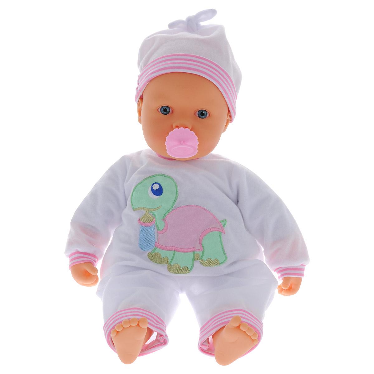 Кукла-пупс Falca, озвученная, 48 см48521Очаровательная кукла-пупс Falca приведет в восторг вашу малышку и доставит ей много удовольствия от часов, посвященных игре с ней. Кукла выглядит как настоящий малыш. Она одета в очаровательный комбинезон с черепашкой и чепчик. У пупса мягконабивное тельце, а подвижные голова, ножки и ручки выполнены из высококачественного полимера. В комплект входит пустышка. Кукла сосет соску, плачет, бормочет, и засыпает, если ее покачать. Игрушка имеет более 25 музыкальных мелодий. Игра с куклой разовьет в вашей малышке чувство ответственности и заботы. Порадуйте свою принцессу таким великолепным подарком! Необходимо докупить 2 батарейки напряжением 1,5V типа AA (не входят в комплект).