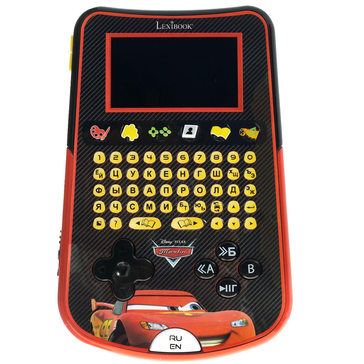 Компьютер планшетный детский Lexibook ТачкиLEX KP100DCi5Детский планшетный компьютер Lexibook Тачки позволит вашему малышу весело и с пользой провести время. Окунитесь в мир Тачек Disney вместе с этим детским обучающим планшетом и пройдите 40 обучающих и игровых заданий на русском и английском языках. Компьютер имеет 6 режимов: Комиксы - 3 красочных комикса, озвученные голосами героев мультфильма Тачки! Окунитесь в захватывающий мир Тачек вместе с Мэтром и Молнией МакКуином. Видео и музыка - благодаря качественному цветному экрану теперь на детском компьютере можно смотреть видео! Любимые мультфильма и песни малыша теперь всегда будут под рукой. Игры - испытайте свои возможности в 6 захватывающих видеоиграх, которые потребуют ловкости и скорости реакции. Галерея персонажей - в этом режиме вы сможете узнать еще больше о любимых героях! В галерее расположены изображения персонажей и их биографии. Рисование - развивайте свои творческие способности! Создавайте свои удивительные изображения...