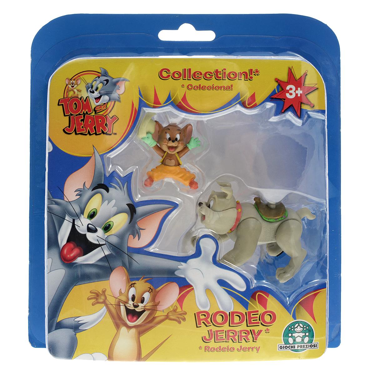 Набор фигурок Tom and Jerry Rodeo Jerry, 2 штGPH15054_Rodeo JerryНабор Tom and Jerry Rodeo Jerry включает две пластиковые фигурки в виде мышки Джерри и бульдога Спайка - персонажей популярного мультсериала Том и Джерри (Tom and Jerry). Джерри можно посадить верхом на Спайка. Лапы и хвост бульдога подвижны. Благодаря маленькому размеру фигурок ребенок сможет взять их с собой на прогулку или в гости. Замечательный подарок поклоннику знаменитого мультсериала!