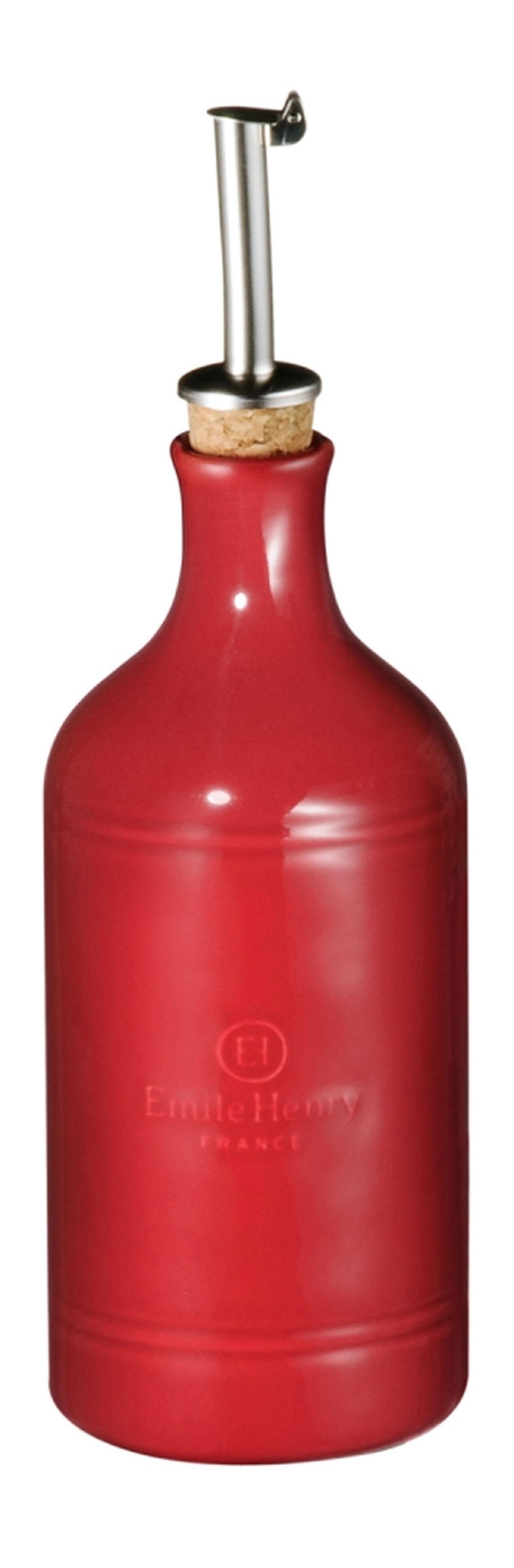 Бутылка для масла и уксуса Emile Henry Natural Chic, цвет: гранат, 450 мл340215Бутылка для масла или уксуса Emile Henry Natural Chic, выполненная из керамики и металла, позволит украсить любую кухню, внеся разнообразие как в строгий классический стиль, так и в современный кухонный интерьер. Пробковая крышка с носиком снабжена клапаном антикапля, не допускающим пролива. Стенки бутылки светонепроницаемые, поэтому ее можно хранить в открытом шкафу, не волнуясь, что ваше лучшее оливковое масло потеряет вкус и аромат. Оригинальная бутылка будет отлично смотреться на вашей кухне. Высота бутылки (с учетом носика): 23,5 см. Диаметр основания: 7 см.
