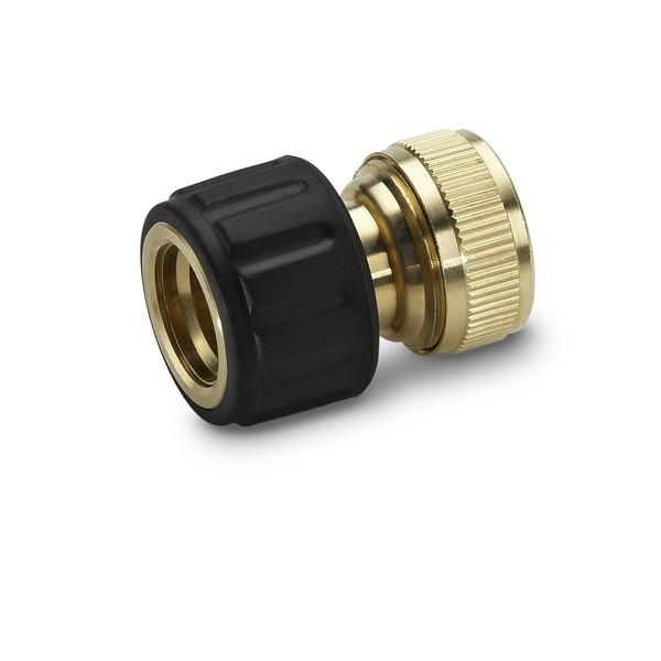 Коннектор для шлангов Karcher, 3/4 2.645-016.02.645-016.0Быстросъемный коннектор Karcher предназначен для соединения шлангов 3/4 с другими элементами системы полива. Выполнен из латуни, что обеспечивает ему долгий срок эксплуатации. Коннектор имеет накладку из мягкого полимера для повышения удобства и долговечности. Для удобства использования и надежной фиксации имеется резиновое кольцо на ручке.