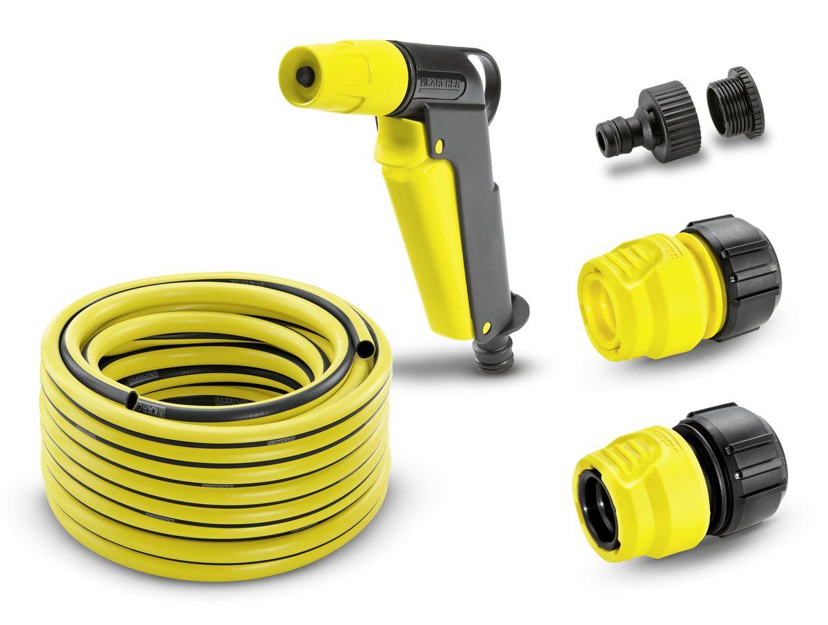 Шланг Karcher PrimoFlex, с соединителями, 1/2, 20 м. 2.645-115.02.645-115.0Комплект Karcher 2.645-115 предназначен специально для направленного полива растений на садовом участке и в огороде. В комплект входит: шланг PrimoFlex, пистолет для полива, штуцер для крана 3/4 с переходом на 1/2 и два коннектора, один из которых с аквастопом. Пистолет используется для орошения небольших по площади территорий. С помощью специального вентиля пистолета легко и просто регулировать струю: от точечной до аэрозольной. Имеет удобную рукоятку и крючок для подвешивания. Также его можно применять для чистки мебели и садового оборудования. Шланг PrimoFlex предназначен для подведения воды к месту полива. Он армирован специальным материалом, выдерживающим давление до 24 бар, устойчив к УФ-излучению и температурам до +65°С. Прочен, безопасен, внутри содержит светонепроницаемый слой. Штуцер предназначен для присоединения шланга к крану. Изготовлен из высококачественного материала. Для удобства использования имеет переходник, если диаметр резьбы будет не...