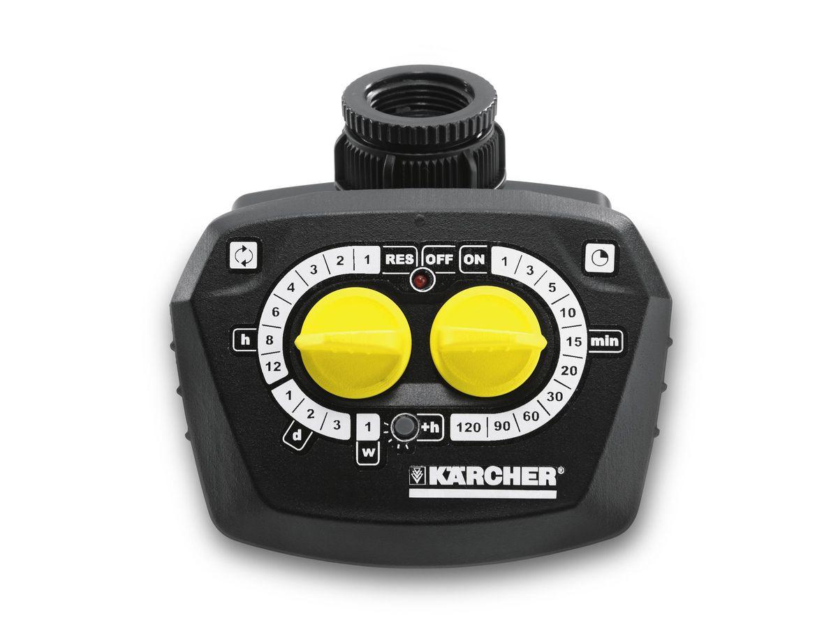 Таймер поливочный Karcher WT 4.000. 2.645-174.02.645-174.0Поливочный таймер Karcher WT4000 предназначен для контроля за системой орошения. Он прочно присоединяется к крану штуцером с латунной резьбой G1 и G3/4. На входе есть фильтр, защищающий от попадания взвесей. Максимальная продолжительность полива 120 мин. Таймер оснащен заданием времени включения и контрольным световым сигнализатором. Теперь не обязательно находиться на даче или в саду для того, чтобы осуществлять уход за газоном или грядками, что значительно экономит время, потраченное на дорогу и на сам поливочный процесс. Для безопасности устройства можно снять цифровой дисплей. Есть возможность ручного полива. Работает от батареи 9В, которой хватит на целый год, а для своевременной замены батареи имеется датчик, показывающий степень заряженности. Батарейка в комплект не входит. Максимальная продолжительность полива: 120 мин. Тип таймера: электронно-механический.