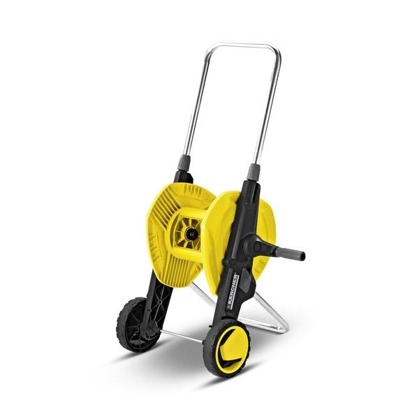 Тележка для шланга Karcher HT 3.420 2.645-180.02.645-180.0Тележка Karcher HT 3.400 имеет складную конструкцию и регулируемую по высоте ручку. Большие профилированные колеса позволяют легко обходить препятствия. Специальный фиксатор надежно удерживает шланг. Максимальная длина шланга: 1/2 - 40 м, 5/8 - 30 м, 3/4 - 20 м. Размер тележки (в сложенном виде): 47 см х 32 см х 38 см. Высота ручки тележки (максимальная): 38 см.