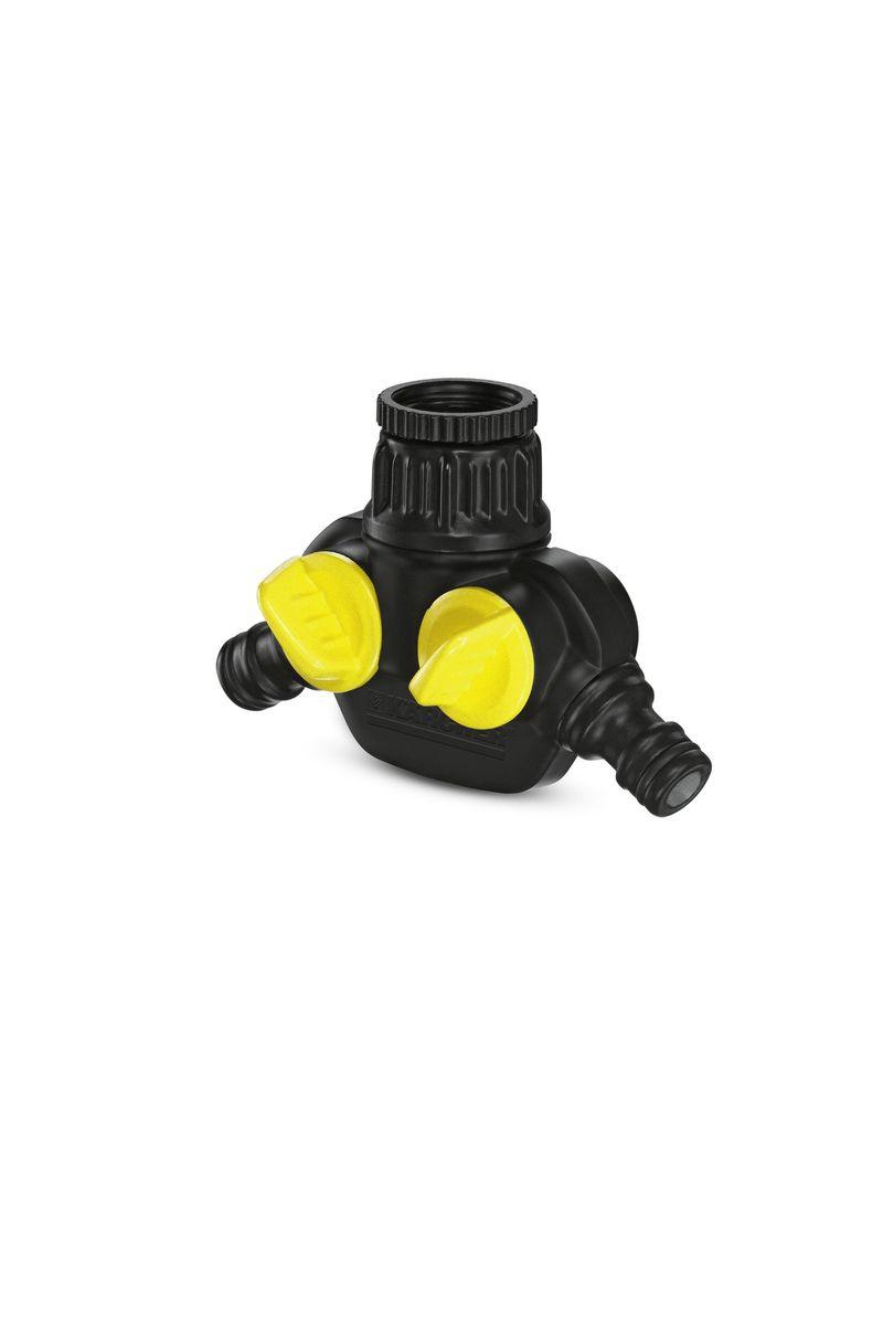 Распределитель для крана Karcher, с 2 выходами 2.645-199.02.645-199.0Распределитель Karcher с двумя выходами предназначен для присоединения от 1 до 2 шлангов к одному водопроводному крану. Устройство имеет 2 вентиля, при помощи которых можно регулировать поток воды. Внутри распределителя расположен металлический сетчатый фильтр.