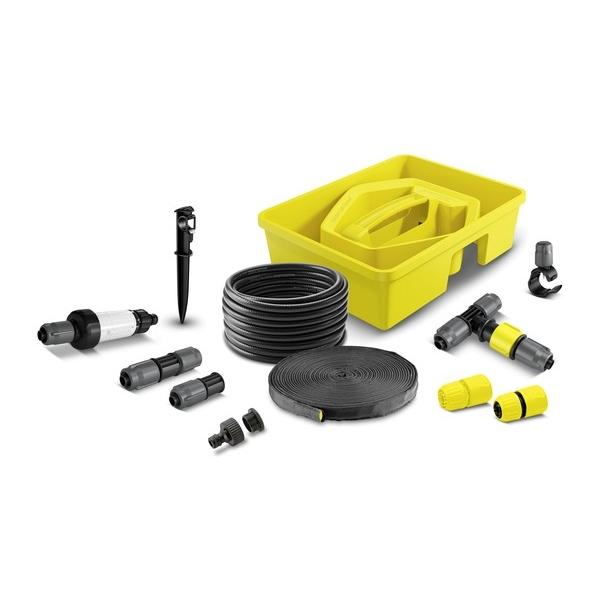 Комплект системы орошения Karcher 2.645-238.02.645-238.0Комплект Karcher находится в удобном пластиковом контейнере и состоит из сочащегося шланга 1/2 (10 м), системного шланга 1/2 (15 м) для подачи воды и установки форсунок и капельниц, 4 регулируемых тройников, 4 соединителей, 10 капельниц, 5 колышков для шлангов, 5 заглушек, 1 фильтра, 2 коннекторов и 1 штуцера для крана G1 с переходом на 3/4.
