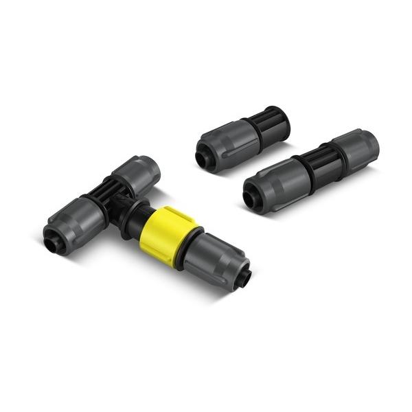 Комплект соединительных элементов Karcher 2.645-240.02.645-240.0Комплект Karcher предназначен для микрокапельного полива. Включает в себя 4 тройника с регулятором расхода воды, 4 соединителя и 5 заглушек. Все элементы набора выполнены из пластика.