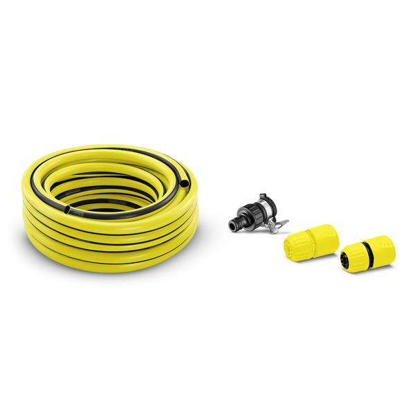 Комплект со шлангом для крана без резьбы Karcher 2.645-258.02.645-258.0Комплект Karcher предназначен для полива садовых территорий или автомойки. В комплект входит: Шланг 1/2 PrimoFlex (длина 10 м). 1 коннектор. 1 коннектор с функцией аквастоп. 1 соединительный элемент для круглых водопроводных кранов (подходит для кранов без резьбы, наружный диаметр 15-20 мм).