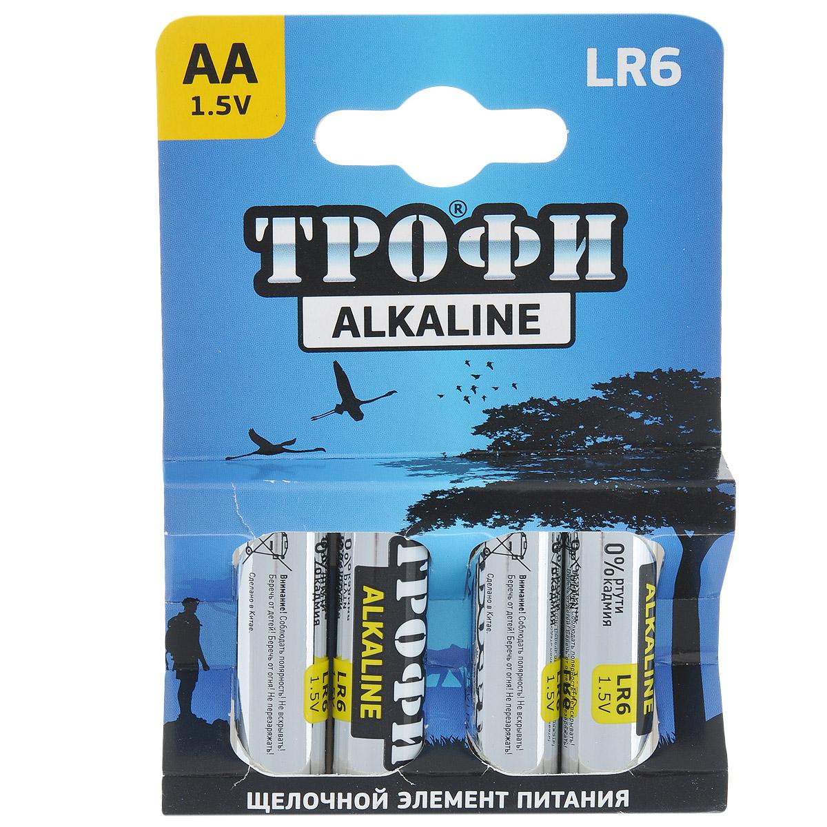 Батарейка алкалиновая Трофи, тип AA (LR6-4BL), 1,5В, 4 шт