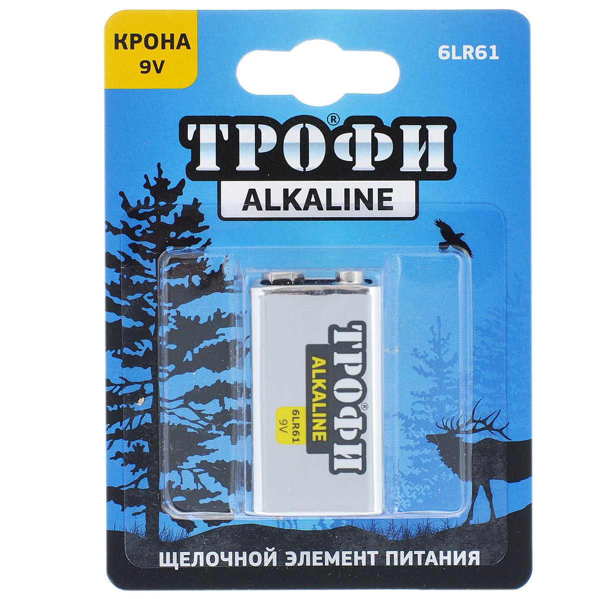 Батарейка алкалиновая Трофи, тип крона 6LR61 (1BL), 9В