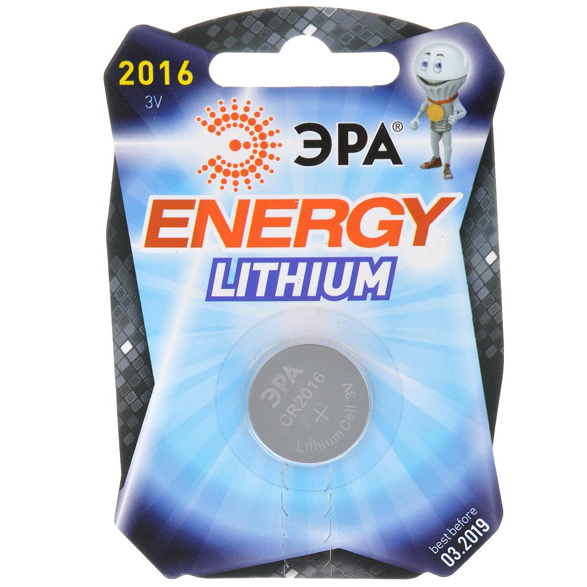 Батарейка литиевая ЭРА Energy, тип CR2016 (1BL), 3В5055398601051Литиевые батарейки ЭРА Energy оптимально подходят для повседневного питания множества современных бытовых приборов: электронных игрушек, фонарей, беспроводной компьютерной периферии и многого другого. Батарейки созданы для устройств с высоким потреблением энергии. Работают в 10 раз дольше, чем обычные солевые элементы питания. Диаметр батарейки: 1,9 см.