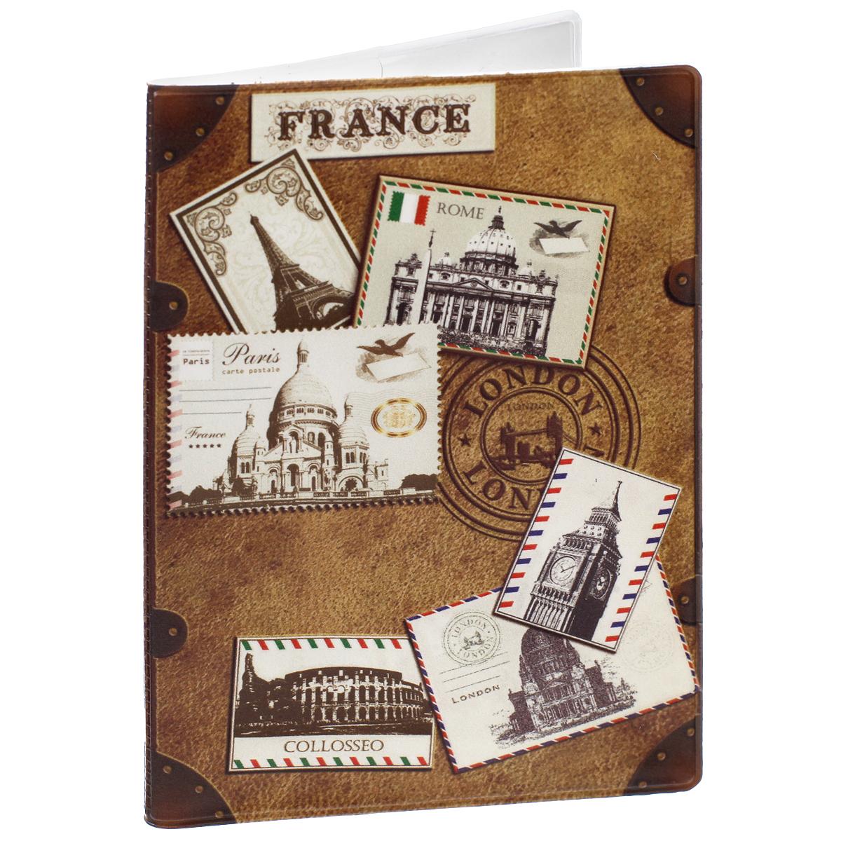 Обложка для паспорта Почтовые марки мира, цвет: коричневый. 2907529075Обложка для паспорта Почтовые марки мира не только поможет сохранить внешний вид ваших документов и защитить их от повреждений, но и станет стильным аксессуаром, идеально подходящим вашему образу. Обложка выполнена из поливинилхлорида и оформлена оригинальным изображением почтовых марок из разных городов мира. Внутри имеет два вертикальных кармана из прозрачного пластика. Такая обложка поможет вам подчеркнуть свою индивидуальность и неповторимость!