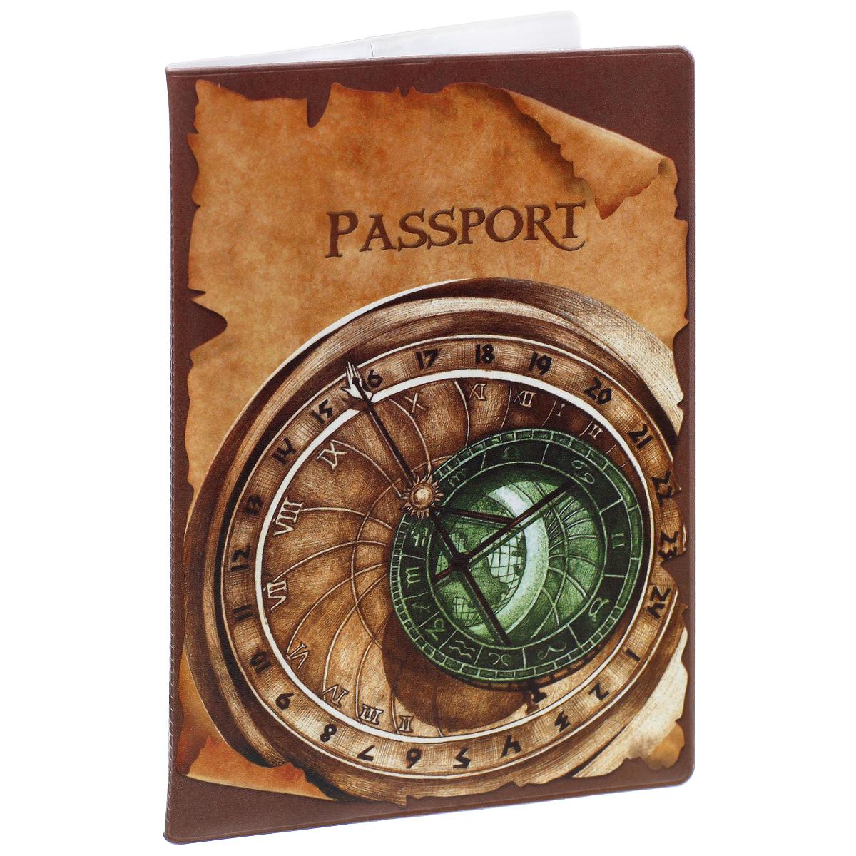 Обложка для паспорта Циферблат, цвет: коричневый, зеленый. 3799237992Обложка для паспорта Циферблат не только поможет сохранить внешний вид ваших документов и защитить их от повреждений, но и станет стильным аксессуаром, идеально подходящим вашему образу. Обложка выполнена из поливинилхлорида и оформлена оригинальным изображением циферблата. Внутри имеет два вертикальных кармана из прозрачного пластика. Такая обложка поможет вам подчеркнуть свою индивидуальность и неповторимость!