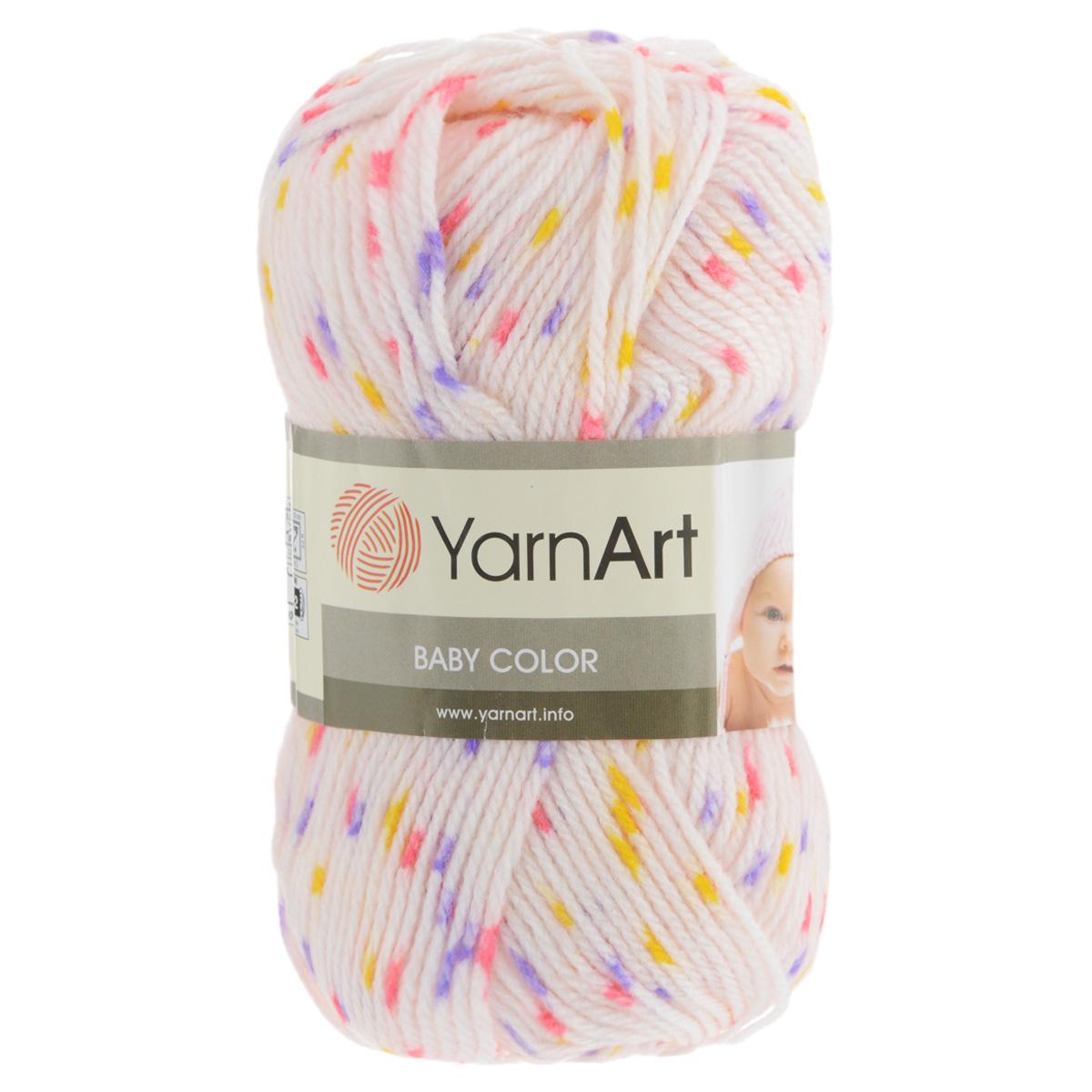Пряжа для вязания YarnArt Baby Сolor, цвет: молочный, розовый, сиреневый (5127), 150 м, 50 г, 5 шт372024_5127Пряжа YarnArt Baby Сolor - это акриловая пряжа для ручного вязания детских вещей. Нить очень мягкая, приятная на ощупь, слегка шелковистая. Изделия из нее получаются теплыми и нежными. Пряжа не вызывает аллергии. Рекомендованные спицы и крючок для вязания 3,5 мм. Состав: 100% акрил.