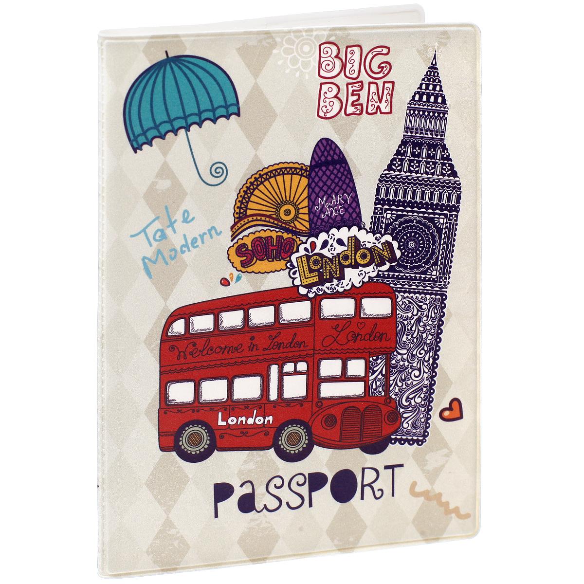 """Обложка для паспорта """"Лондон"""", цвет: фиолетовый, светло-бежевый, красный. 32391 Феникс-Презент"""